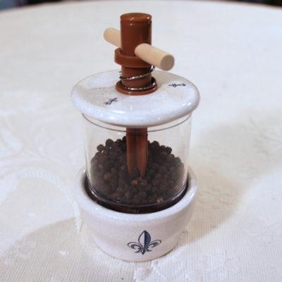 Hand painted Fleur de Lis Ceramic spice grinder, made in France.