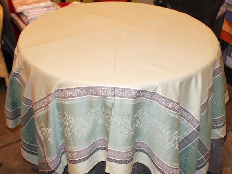 Jacquard Tablecloth 64u2033 By 98u2033 U2013 Olive Branch Design U2013 Pale Green U0026 Pearl  Gray
