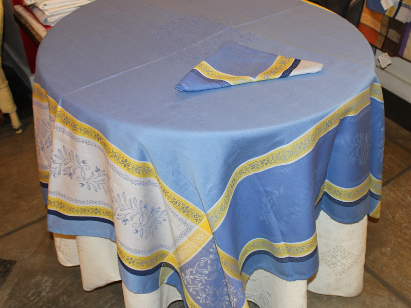Jacquard Tablecloth 64u2033 By 64u2033 U2013 Olive Branch Design U2013 Blue U0026 Yellow